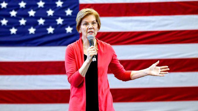 Massachusetts Senator Elizabeth Warren gives rally speech