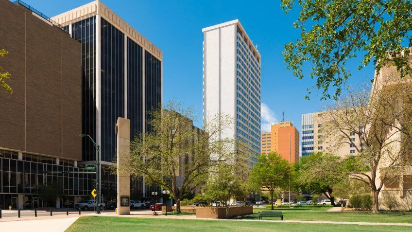 Midland Texas downtown skyscrapers cityscape architecture.