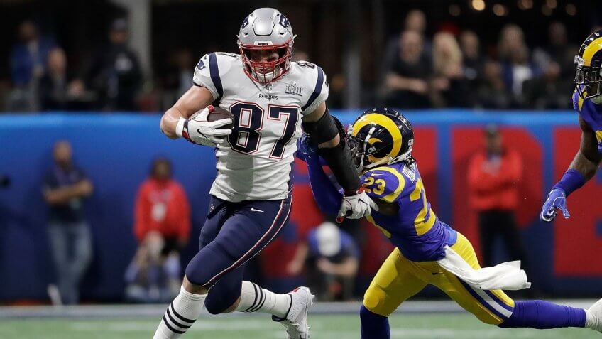 New England Patriots tight end Rob Gronkowski during Super Bowl LIII