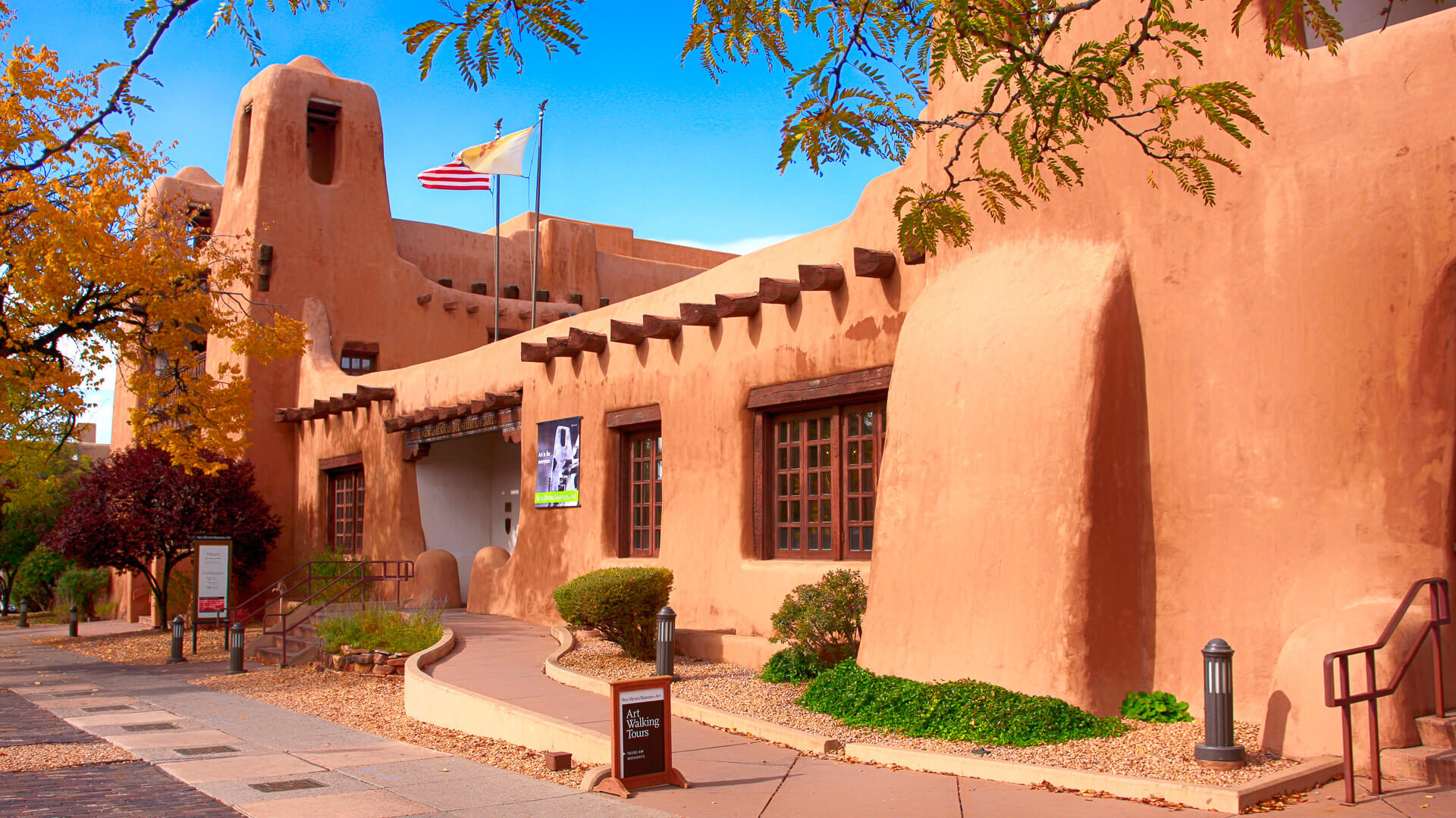 Outside the New Mexico Museum of Art on W Palace Street in downtown Santa Fe, New Mexico USA.