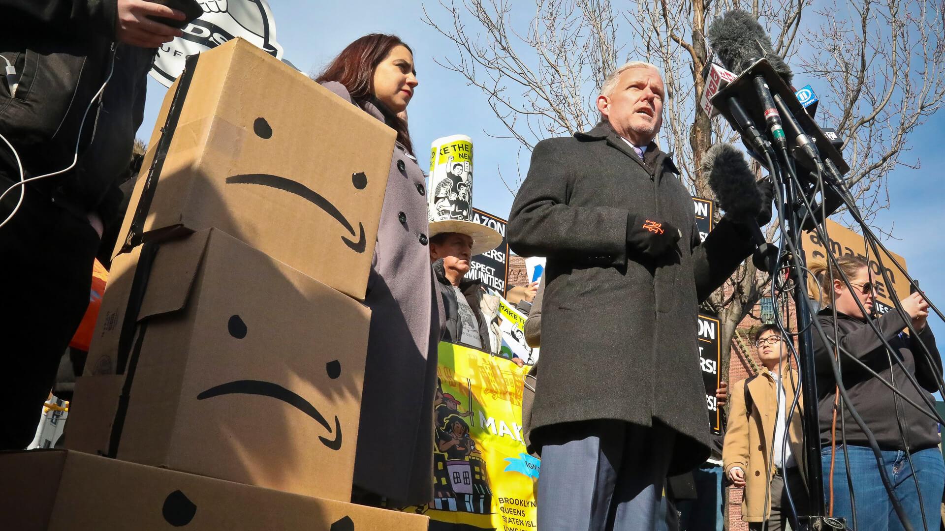 New York City council member Jimmy Van Bramer speaks to crowd