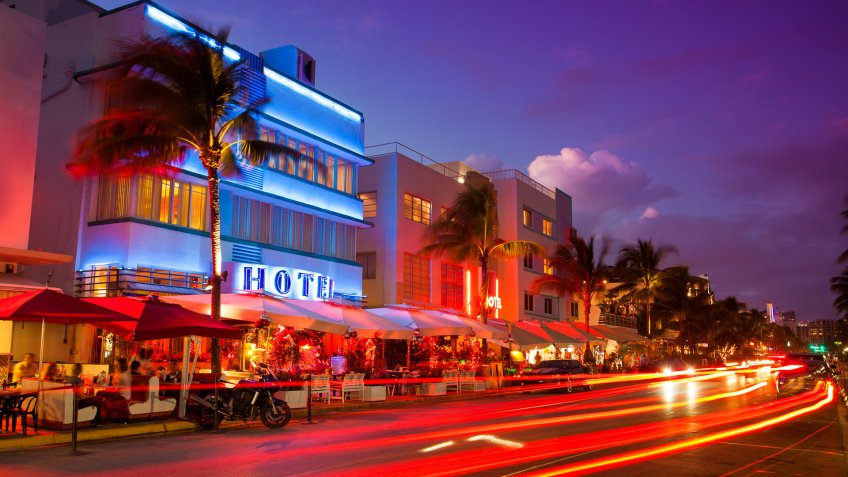 Nightlife on the art deco district of South Beach in Florida USA.