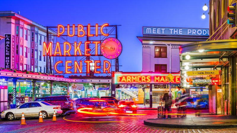 Pikes Place Market on waterfront in Seattle Washington at dusk