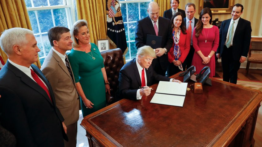 President Donald Trump signs act repealing Dodd Frank act