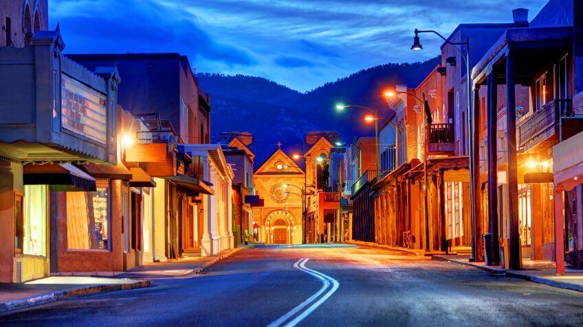 dusk city shot in Santa Fe New Mexico