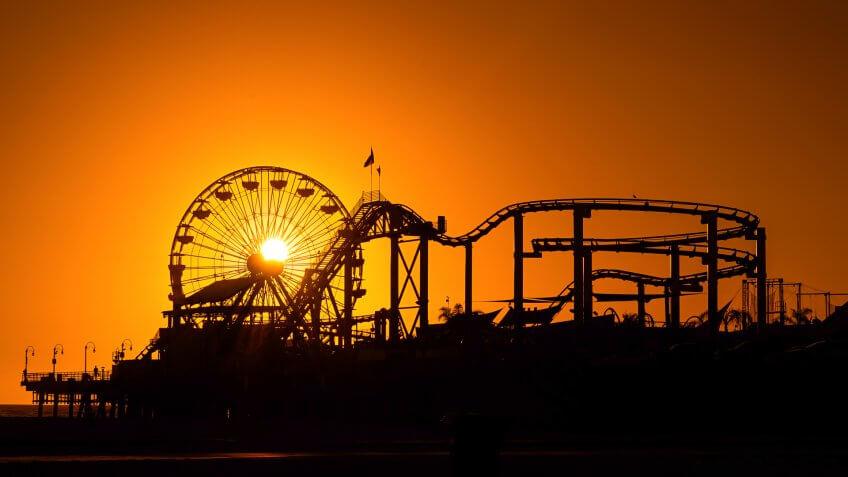 Santa Monica Pier during Sunet.