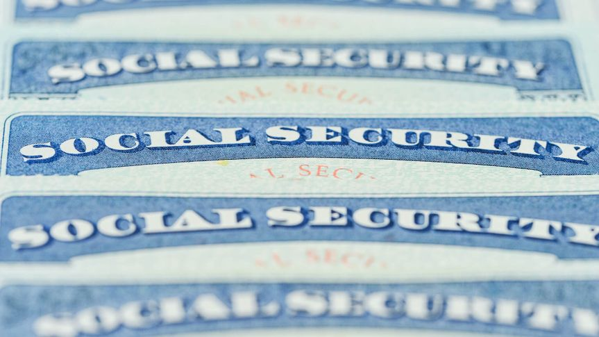 Close-up of American Social Security cards.