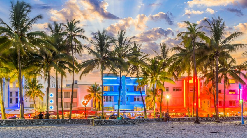 South Beach Miami at sunset