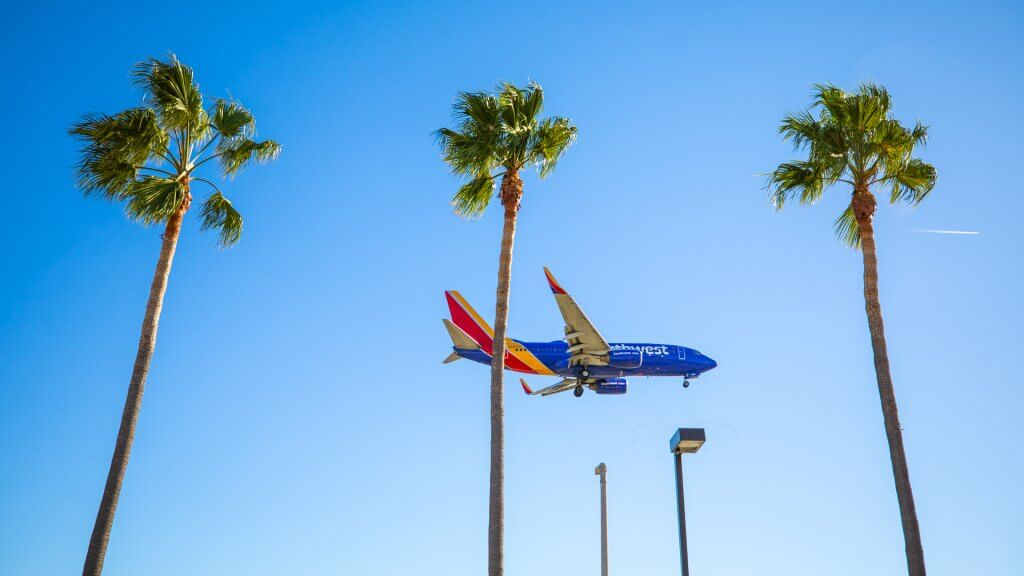 Southwest Airlines landing in Los Angeles - LAX airport