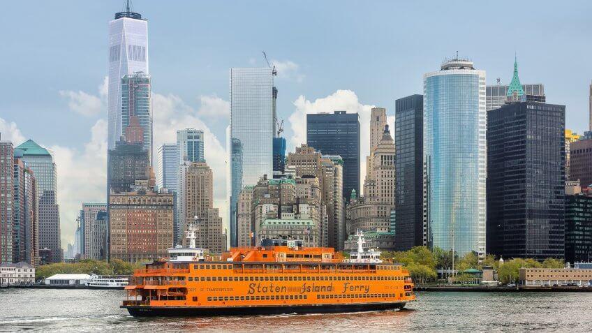 Staten Island Ferry approaching New York City skyline