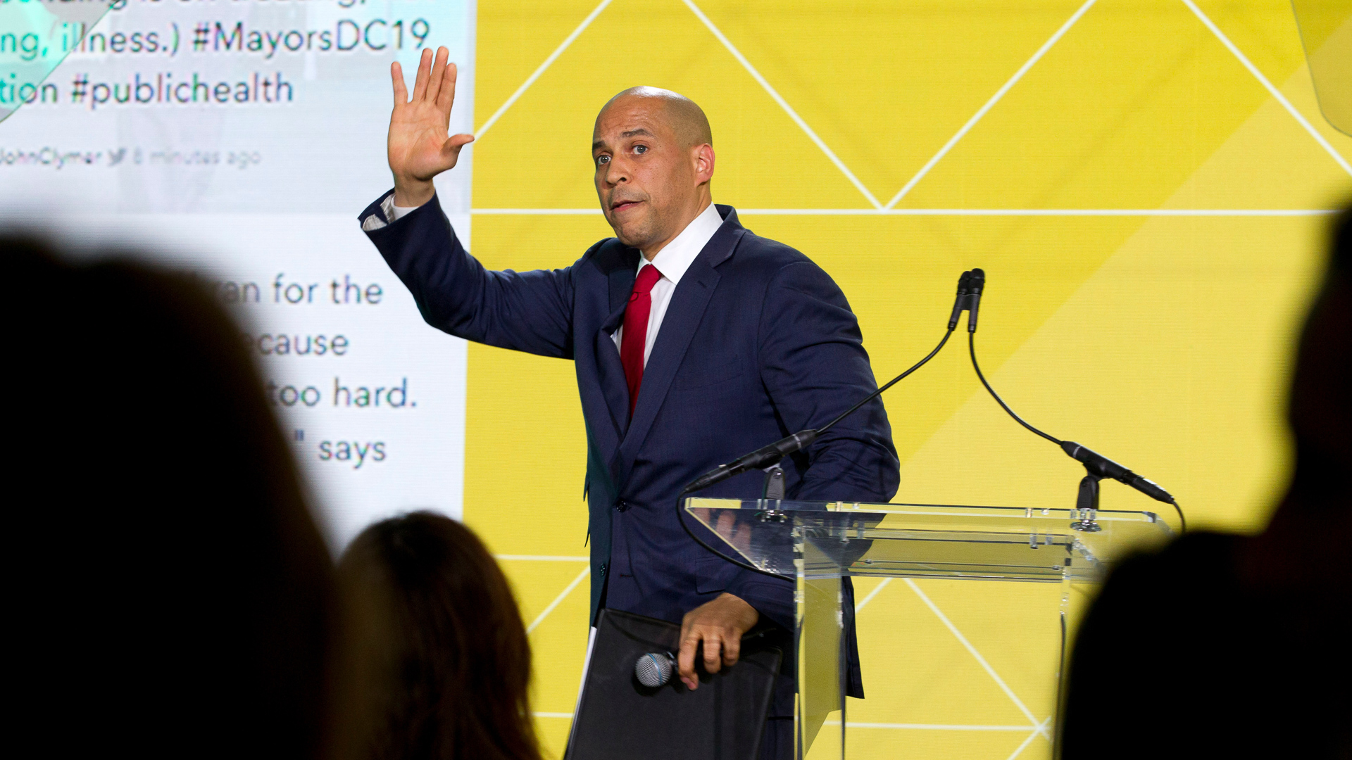 US Senator Cory Booker gives speech