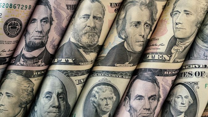 United States currency bank notes for Presidents Day