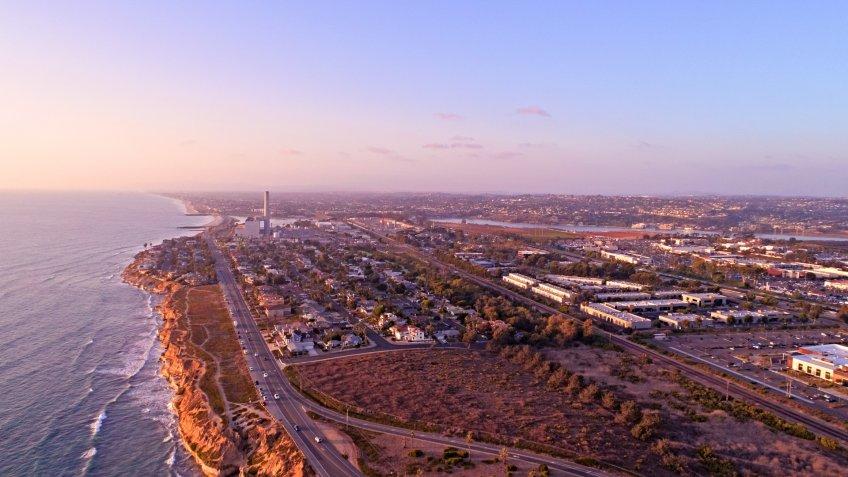 aerial view of Carlsbad and Vista California at sunset