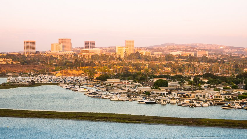 The beautiful skyline in Orange County, Southern California during a summer sunset.