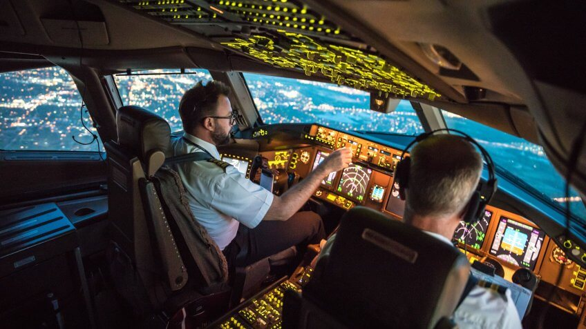Two pilots at work during departure of Dallas Fort Worth Airport in United States of America.