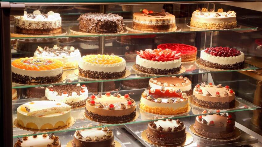 cakes and pies in a bakery shop