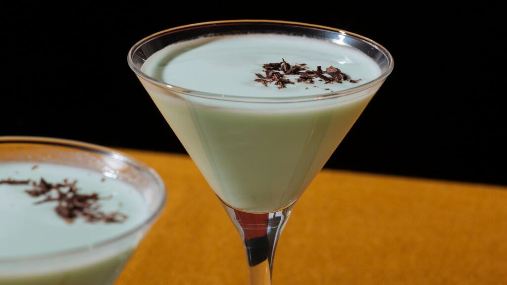 close up of cream mint cocktail