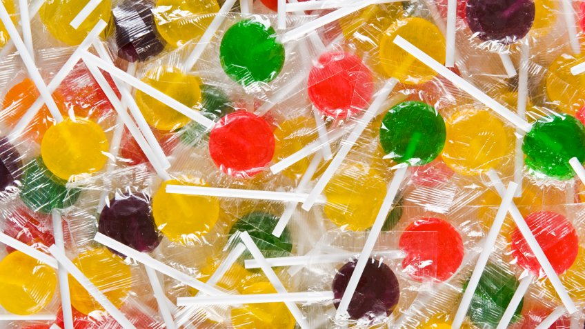 Group of wrapped colorful lollipops.