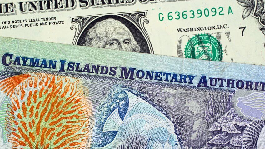 A close up image of a colorful Cayman Islands dollar bill with an American one dollar bill.