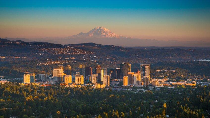 Downtown Bellevue, Washington with Mt. Rainier