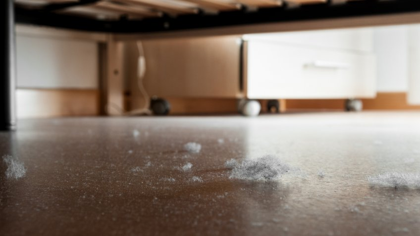 Detail of dust and dirt heap accumulated on a parquet floor under a bed.