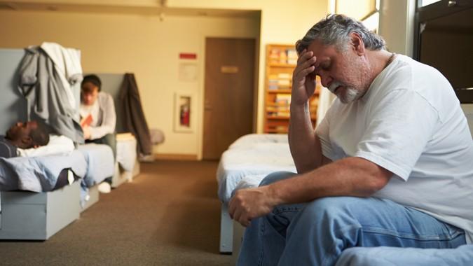 homeless man in a homeless shelter