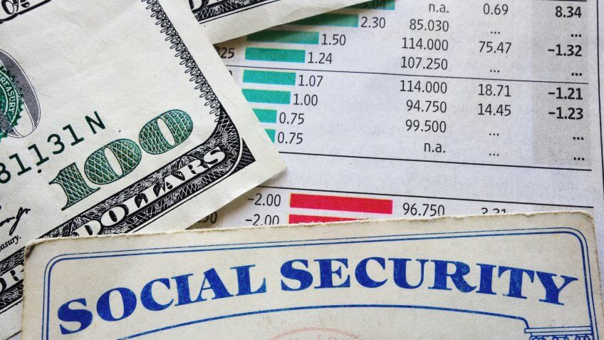 investing newspaper with social security card and a hundred doll
