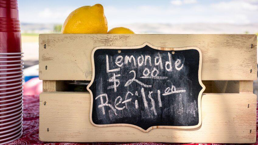 Close-up of prices for a cute lemonade stand in the US.