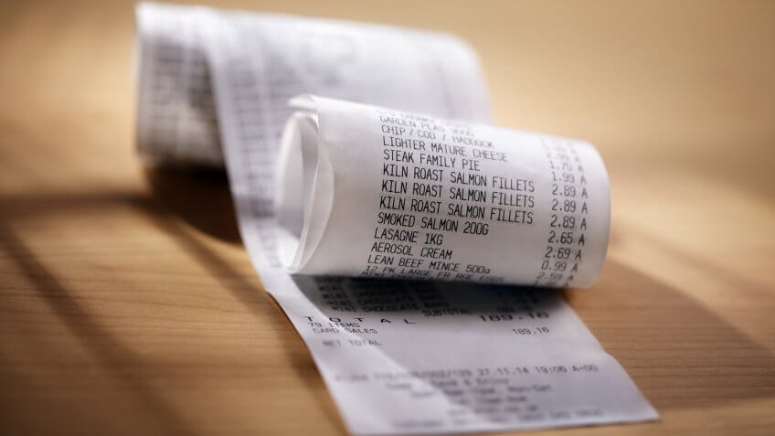 long grocery shopping receipt