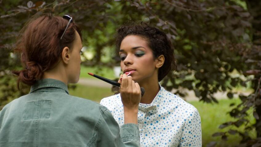 makeup artist on set