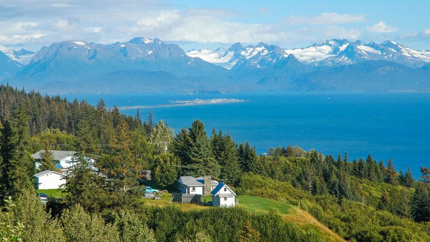 View on Homer Spit and Kachemak Bay in Alaska.