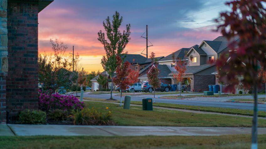 neighborhood in Bentonville Arkansas at sunset