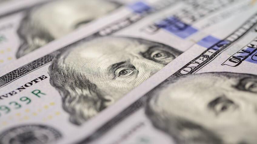 Background of american hundred dollar bills.