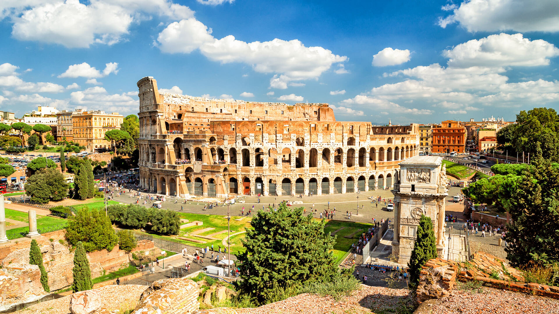Panoramic view the Colosseum in Rome, Italy.