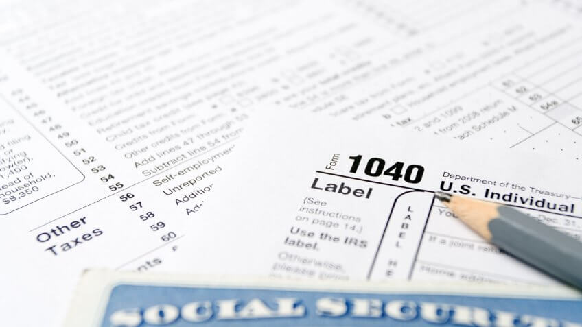 tax form 1040 with social security card