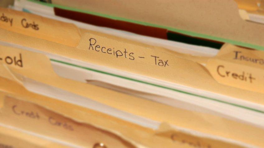 tax receipts file folder