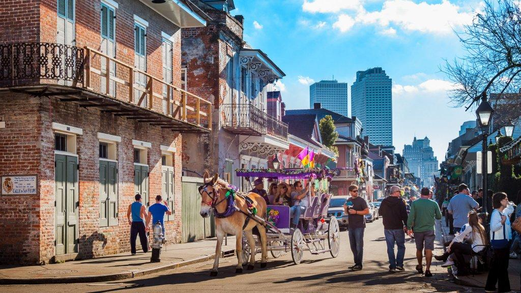 tourists in French Quarter in New Orleans Lousisana