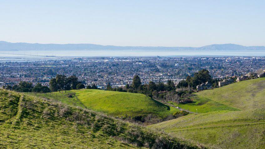 view overlooking San Francisco Bay and Hayward California