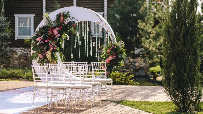 wedding ceremony setup in a neighborhood