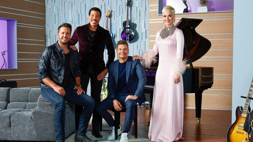 American Idol host Ryan Seacrest with judges Lionel Richie, and Luke Bryan, Katy Perry
