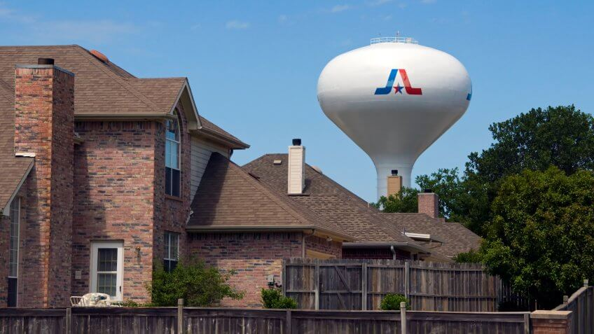 Arlington, Texas / USA - July 27 2010: Large Pedesphere Elevated Water Tower Painted with the City Logo.