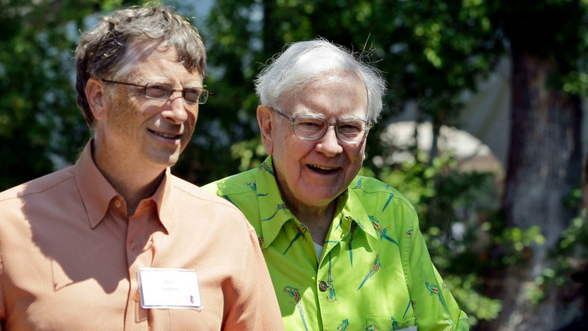 Bill Gates and Warren Buffet talking in Sun Valley Idaho