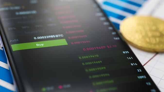 Binance exchange app on smartphone for cryprocurrency trading