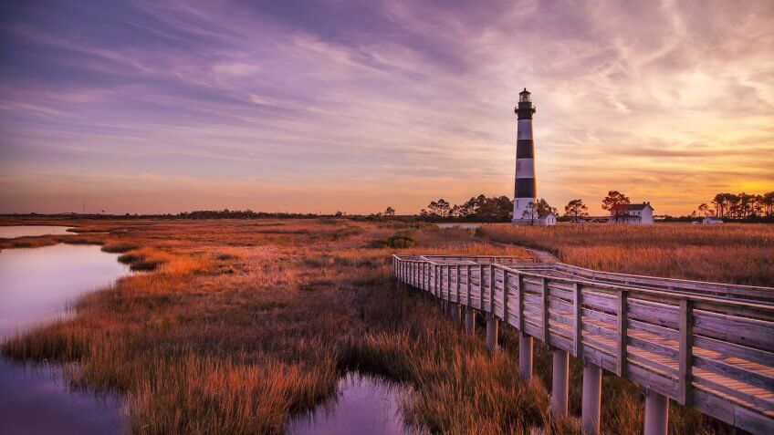 Bodie Island Lighthouse at sunset.