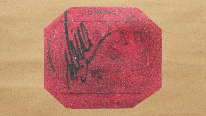 rare British Guana 11856 1 cent magenta stamp