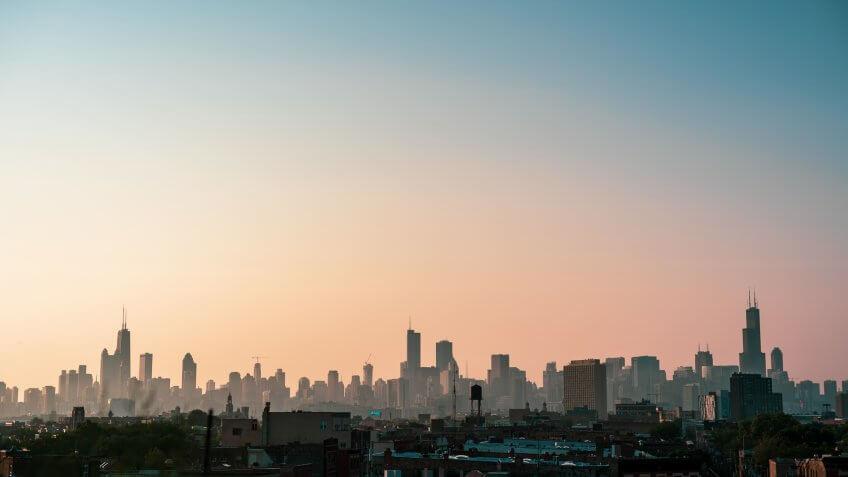 Chicago Illinois skyline at sunset