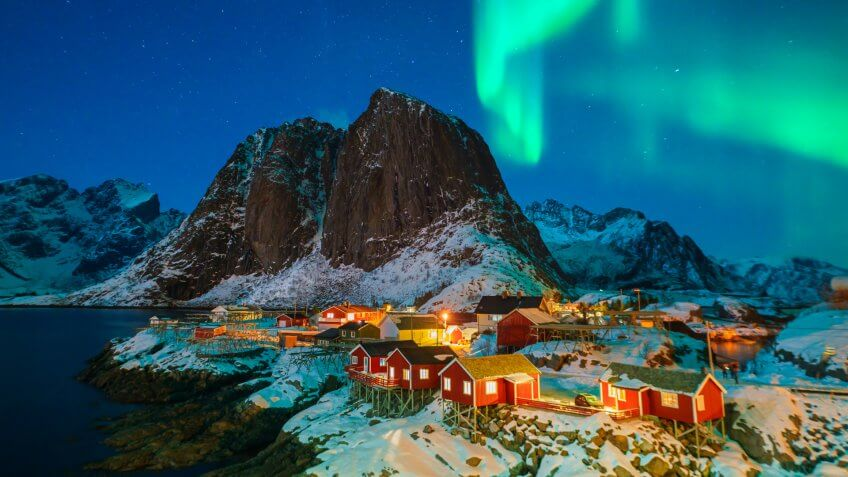 Colorful northern lights.