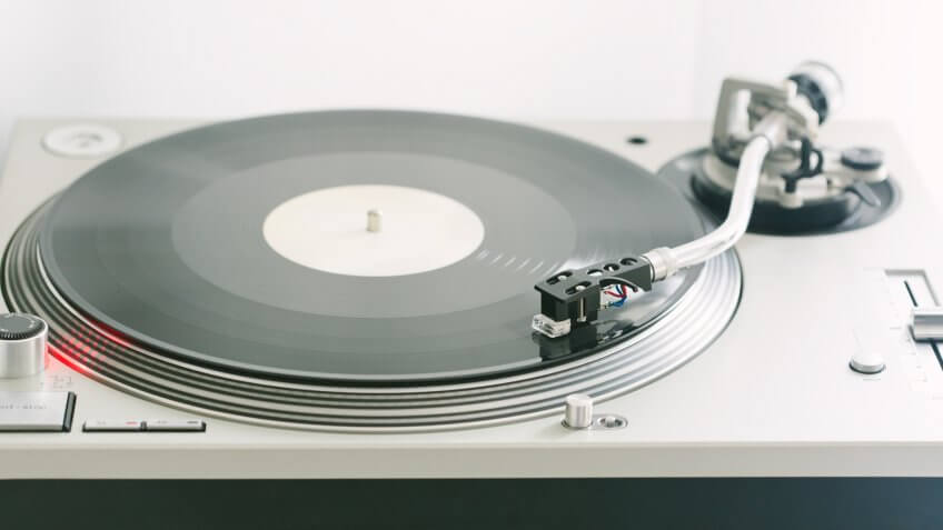Close-up shot of the legendary DJ turntable.