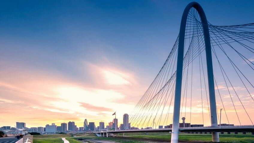 Photo of Dallas skyline in the morning.