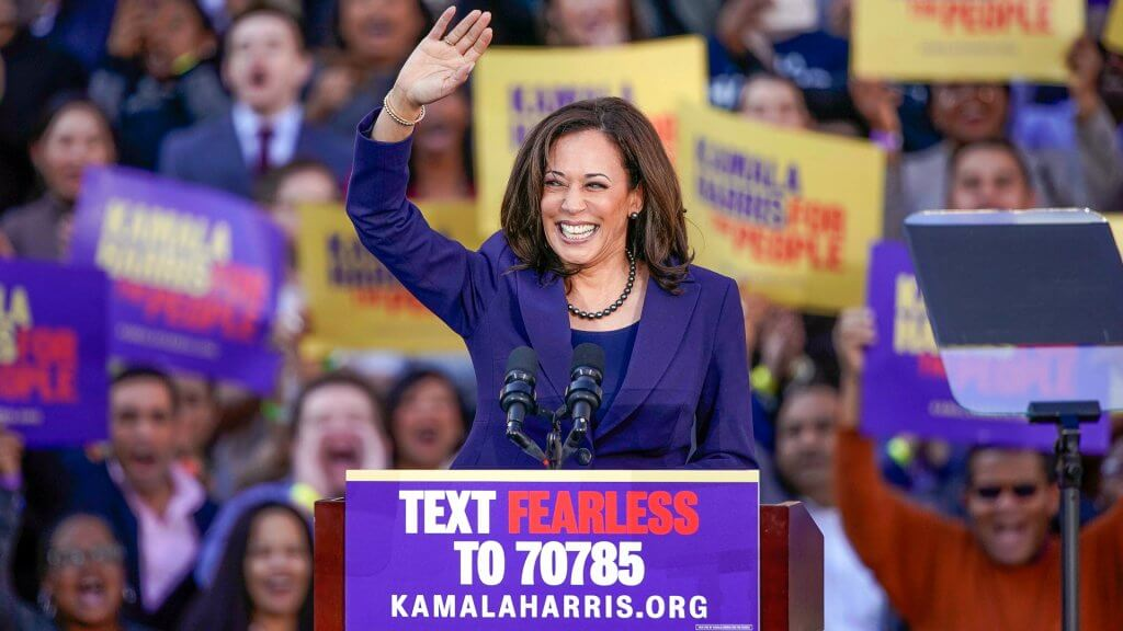 Democratic Presidential Candidate Kamala Harris at campaign rally